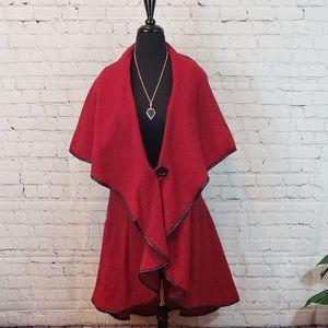 Luciano Dante Red Cape Coat Size XL